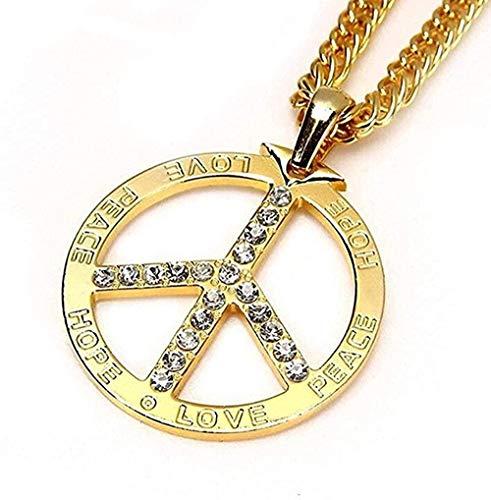 LDKAIMLLN Co.,ltd Colgante de Plata de la Paz de la Paz de Collier Chapado en Oro Chapado en Oro Personalizado 35 Collares de Encanto de 4 Pulgadas