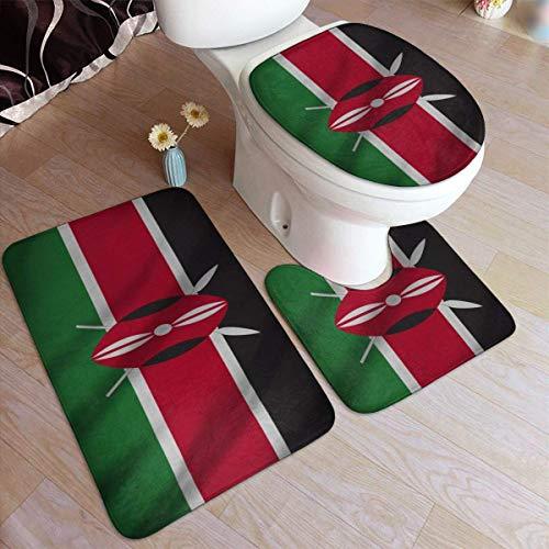 N\A rutschfeste 3-teilige Badteppiche Matten-Sets-Kenia-Flagge Enthält waschbaren Badteppich/U-förmige Konturmatte/Toilettensitzbezug