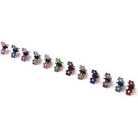 Bobury 12PCS Niñas Pequeñas Flores de Cristal Garras de Pelo de Metal Niños Mini Pinza de Pelo de Diamantes de Imitación Niños Clips de Adorno para el Cabello Horquillas para el Bebé (Color al Azar)