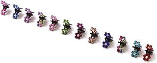 Bobury 12PCS Niñas Pequeñas Flores de Cristal Garras de Pelo de Metal Niños Mini Pinza de Pelo de Diamantes de Imitación N...