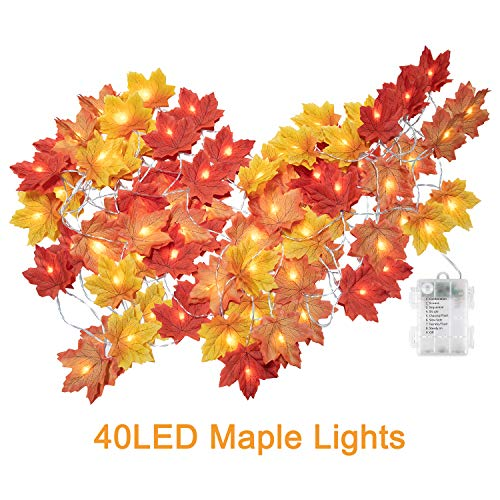 Fall Maple Leaf String Lights, 20Ft. 40 LED Battery Powered Harvest, Waterproof Orange Fall Garland Lights Decor for Party Indoor Outdoor Thanksgiving