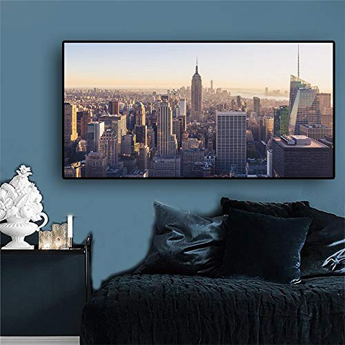 wZUN Nueva York Manhattan Empire State Building Pintura Lienzo Arte Carteles e Impresiones Mural para Sala de Estar 60x80 Sin Marco