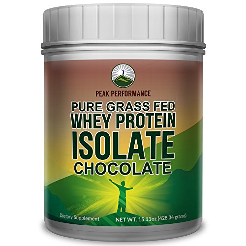Peak Performance Pure Grass Fed Whey Protein Isolate Powder - Soy Free, No Artificial Sweeteners, NO Hormones. Better Alternative to Whey Concentrate (Chocolate)