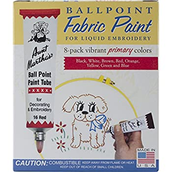 Aunt Martha s Ballpoint 8-Pack Embroidery Paint Primary Colors