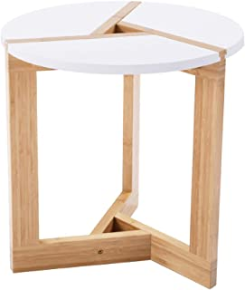 WILSHINE Small Round End Table White Side Table with Bamboo Base for Living Room Nursery, 15.7 Inch