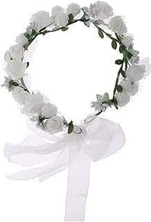 MOPOLIS Fashion Flower Crown Hair Wreath Garland Wedding Bridal Headdress Photo Prop | Color - White
