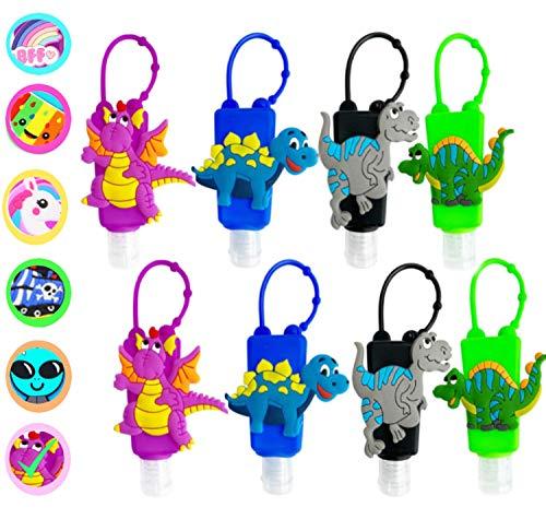 KINIA 8 Pack Empty Kids DINOSAUR Hand Sanitizer Travel Size Keychain Carriers, 8-1 fl oz Flip Cap Reusable Portable Empty Bottles (8-Variety Pack DINOSAUR)