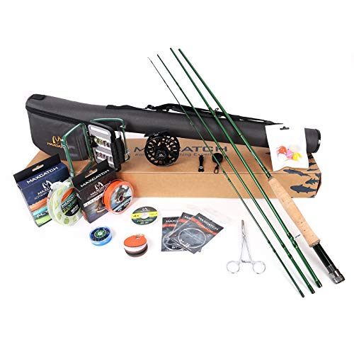 M MAXIMUMCATCH Maxcatch Premier Fly Fishing Rod and Reel Combo Complete 9' Fishing Outfit (3 wt -8'4 Half-Handle Rod,3/4 Reel)