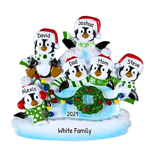 Personalized Penguin Family of 6 Christmas Tree Ornament 2020 - Children Sibling Friend in Lighten Snow House Tradition Arctic Winter New Home North Pole Gift Year - Free Customization (Six)