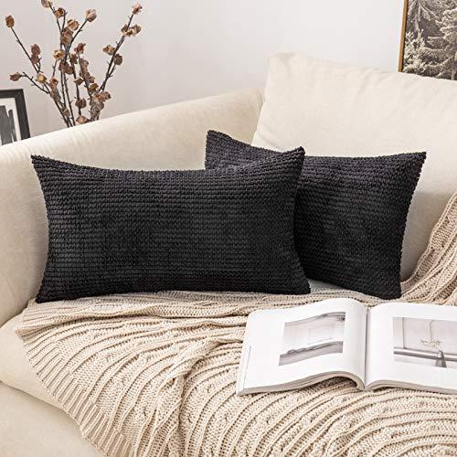 MIULEE 2 Piezas Funda de Cojines Poliéster Elegante Suave y Duradero Funda de Almohada Cómoda para Sofá Cama Decoracion Modernas Preciosas para Sillas Dormitorio Habitacion 30x50cm Negro