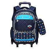 Mochila con Ruedas - Durable Rolling Daypack Bolso de Escuela de Gran Capacidad Elegante Daypack para Estudiantes de...
