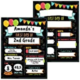 Cute First and Last Day of School Board Signs Set of 12 - Reversible 12' x 9' Back to School Cards for Lasting Memories - Perfect Photo Prop Chalkboard Prints for Kindergarten or School Graduation