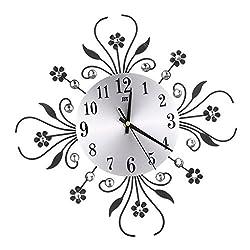 LOVIVER Metal Wall Clock Wall Clock Star Burst Sunburst Diamonds Decor with Minute Hand - Black, as described