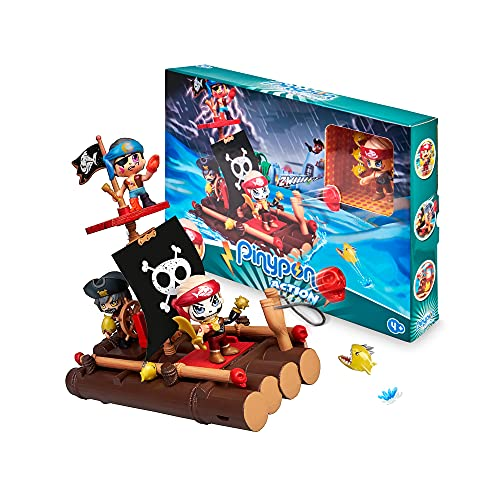Pinypon Action - Balsa de Piratas, juguete barco pirata infantil que flota en el agua, con muñeco y accesorios búsqueda del tesoro, niños y niñas desde 4 años, Famosa, (700016646)