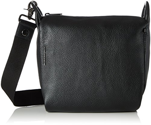 Mandarina Duck Mellow Leather Tracolla, Bolso bandolera para Mujer, Negro (Nero), 10x21x28.5 cm (B x H x T)