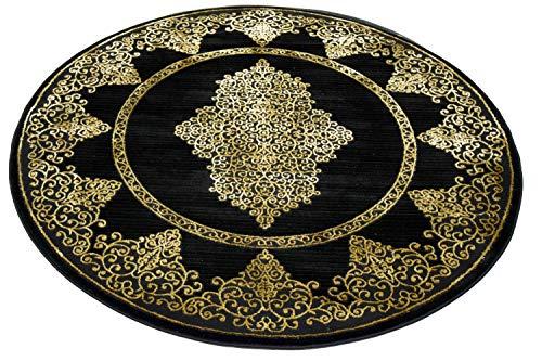 CARPETIA Teppich Wohnzimmer Kurzflor Teppich Ornamente schwarz Gold Größe 200 cm Rund