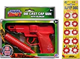 Swat Mission Red Die Cast Metal 8-shot Cap Gun + Fake Silencer +