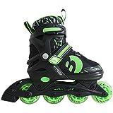 Best Sporting Inline Skates, Größe verstellbar, ABEC 7 Carbon, Inliner Kinder und Jugendliche, Farbe grün-schwarz, Größe 34-37