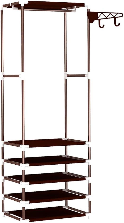 Household Coat Rack with shoes Rack Bedroom Floor Hanger Modern Minimalist Storage Rack (color   Brown)