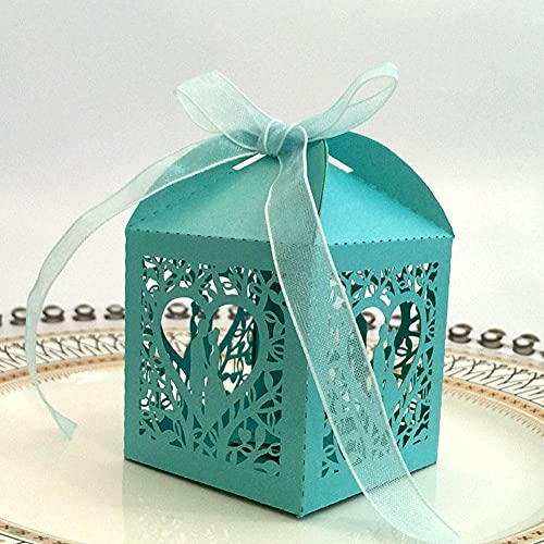 BAWAQAF Cajas de Regalo, 50 Cajas de Regalo pequeñas para Dulces de Novia y Novio, con Cinta Cajas de Regalo de Papel de Boda para el día de San Valentín, decoración de Fiesta
