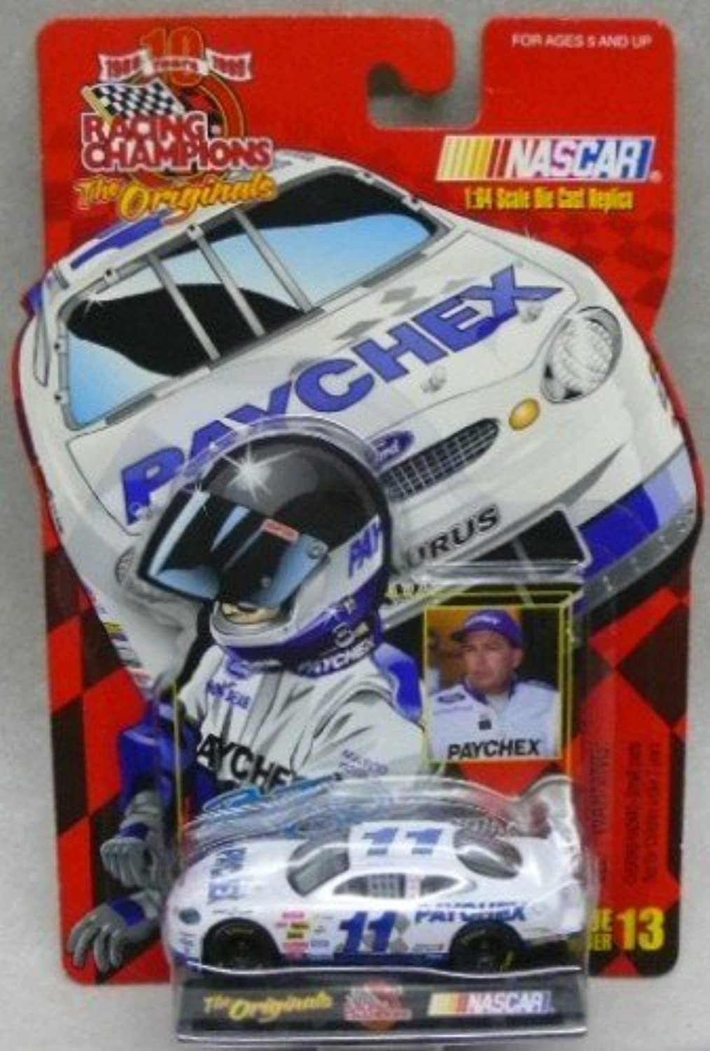 1999  Racing Champions  The Originals  Brett Bodine  No. 11 Paychex Ford Taurus 1 64 Diecast Collectible Car and Collector Card by Racing Champions