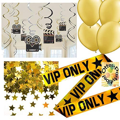 HHO Hollywood Deko-Set Glamour Sternchen Gold Spiralen Luftballons Konfetti VIP Absperrband