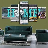 QMGLBG 5ピースの装飾的な絵画 カップルクリエイティブキャンバス絵画アート家の装飾リビングルーム寝室オフィスフレームは直接掛けることができます(内枠)