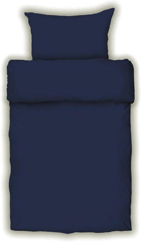 Bettwäsche Mako Satin Farbe Farbe Farbe Uni Blau Marine Baumwolle m.Reissverschluss (155x220) B017KMQ1EE 5a9fbe