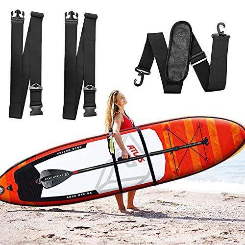 SacJkt Correa de Transporte de Tabla de Surf, Correa de Hombro de Tabla de Surf, Correa de Nailon Ajustable para Kayak, Tabla de Surf, Canoa (Negro)