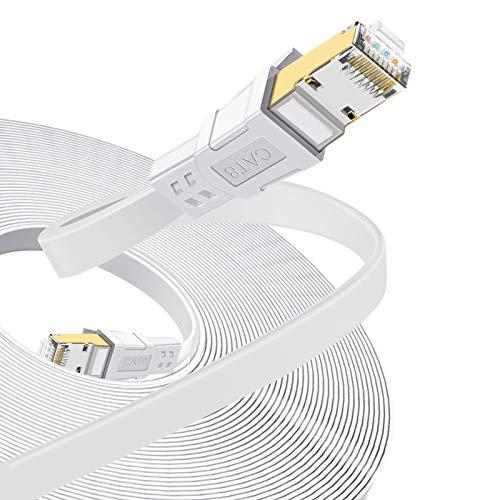 TBMax 10m LAN Kabel CAT 8 Netzwerkkabel Flach Ethernet Kabel Hochgeschwindigkeit 40 Gbits 2000MHz Flachbandkabel SSTP Patchkabel mit Vergoldetem RJ45 Stecke für Modem,Router(Weiß)