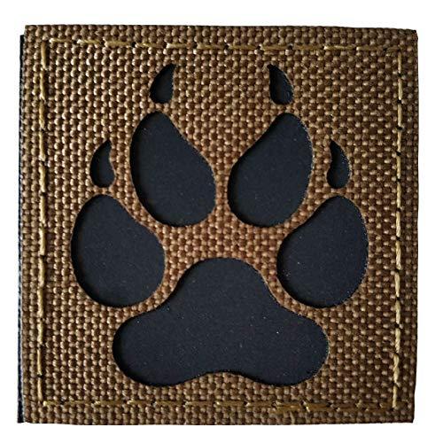 K9 Footprint IR Infrared Reflective Velcro Patch Tactical Service Dog Vests/Harnesses Emblem Embroidered Military Hook-Fastener Morale Backing (Green)