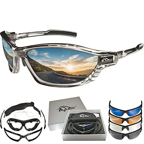 BIGWAVE Pro-Action 903 grau – Superentspiegelte Premium UV 400 Sportbrille mit 4 Wechselgläsern–Radsportbrille mit schmutzabweisender Clean-Coat Beschichtung mit Sehstärke für Damen und Herren