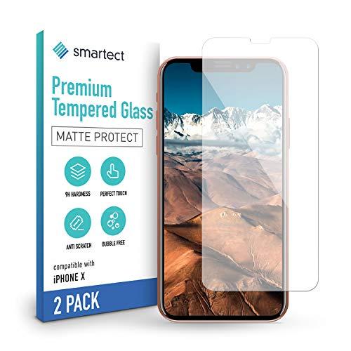 smartect Mattes Panzerglas kompatibel mit iPhone XS/X [2x MATT] - Tempered Glass mit 9H Härte - Blasenfreie Schutzfolie - Anti Fingerprint Panzerglasfolie