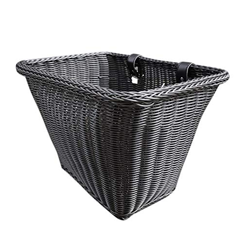 Keptfeet Front Handlebar Wicker Bike Basket, Black Wicker Hand-Woven Bicycle Basket, Suitable for Boys Girls Adults Bicycle Shopping Basket - 35x27x25cm