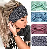 GENBREE Knotted Headband Criss Cross Head Wrap Elastic Turban Hair Band Bow Knotted Sport Headbands Non Slip Hair Accessories for Women(Pack of4)