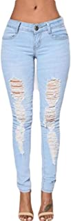 Women Mid Waist Distressed Slim Fit Ripped Stretch Skinny Jeans