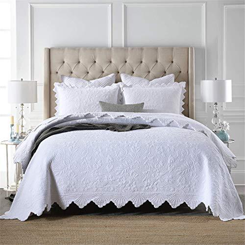 Colcha acolchada blanca Doble para decoración de dormitorio cubierta reversible colcha en relieve colcha con 2 pillowcasas, 230x250cm