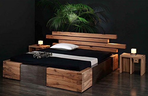 shogazi  Schlafkultur Massivholzbett Brunhilde - rustikales Designerbett, Größe:200x200cm
