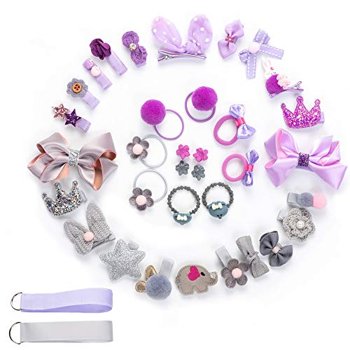 Barrettes à cheveux avec nœuds pour les petites filles – Lot de 36 barrettes à cheveux pour enfants avec nœuds – Cadeau idéal pour les nouveau-nés et les jeunes filles (violet et gris, 36 pièces)