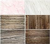 BEIYANG 57 x 87 cm 2 en 1 fondo de mármol vintage de madera fotográfica, 3 piezas de doble cara patrón de foto para alimentos, tartas, joyas, cosméticos, frutas, video Vlog YouTube