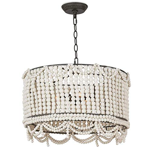 KFDQ Household Chandeliers,20'Drum Cage Chandeliers with Wood Beads,Retro Vintage Antique Rustic Farmhouse Ceiling Light 3-Light Flush Mount Pendant Lighting Fixture for Entryway Bedroom,Retro White