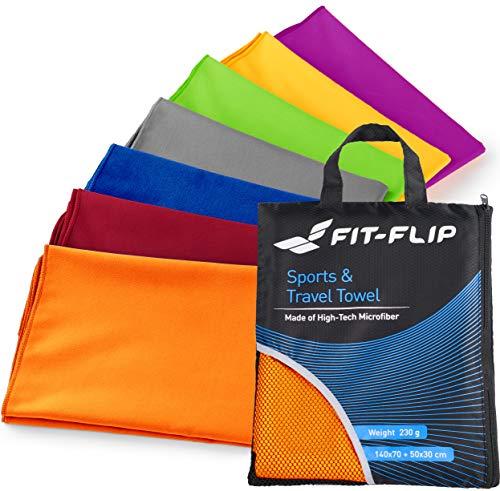 Fit-Flip Mikrofaser Handtücher Set – 15 Farben, 6 Größen – Ultra leicht, kompakt, schnelltrocknend – Handtuch Mikrofaser – das perfekte Trainingshandtuch, Travel Towel, Strandtuch (60x120cm - Orange)