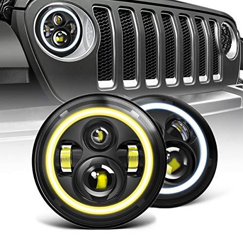 AUSI Black Pair LED Headlight for Jeep...