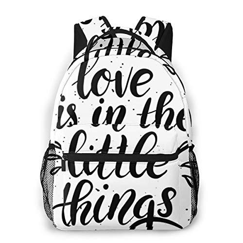 Laptop Rucksack Schulrucksack Zitat Liebe ist klein, 14 Zoll Reise Daypack Wasserdicht für Arbeit Business Schule Männer Frauen