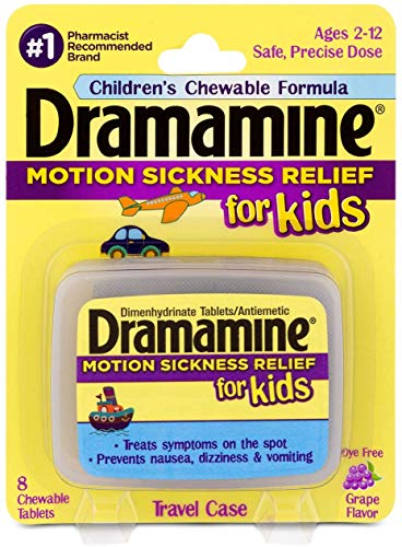 Dramamine Motion Sickness Relief for Kids, Grape Flavor,8 Count (4 Pack)