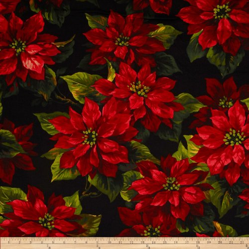 Michael Miller Quilt Fabrics Quilt Fabric Michael Miller Scarlet Poinsetta Black Quilt Fabric by The yd