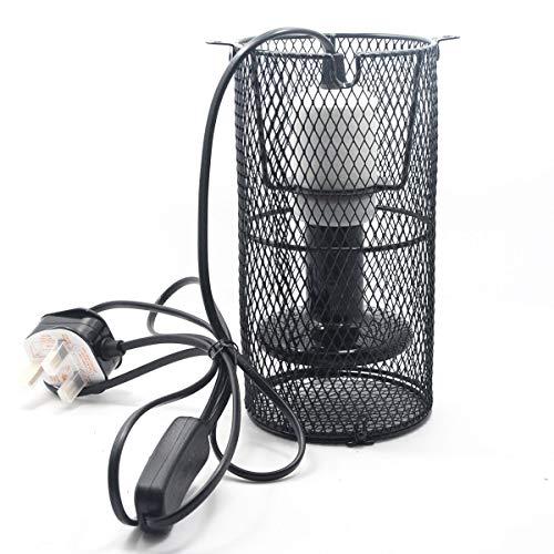Earlybird - Portalampada a risparmio energetico in ceramica per rettili con staffa anti calore, staffa per riscaldatore per animali domestici per lampadina E27 (lampadina per riscaldatore non inclusa)