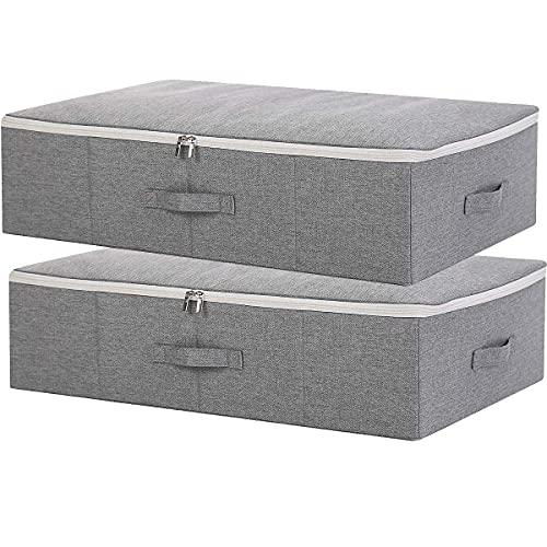 SimpleHome Pure | Cajas de almacenaje bajo cama de yute planas | Gris | Set de 2 | Bolsas almacenaje rígidas para ropa, mantas, Ropa de Cama, 70 x 43 x 18 cm.
