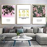 Martin Kench 3er Set Poster Bilder, Rose Flamingo Wald