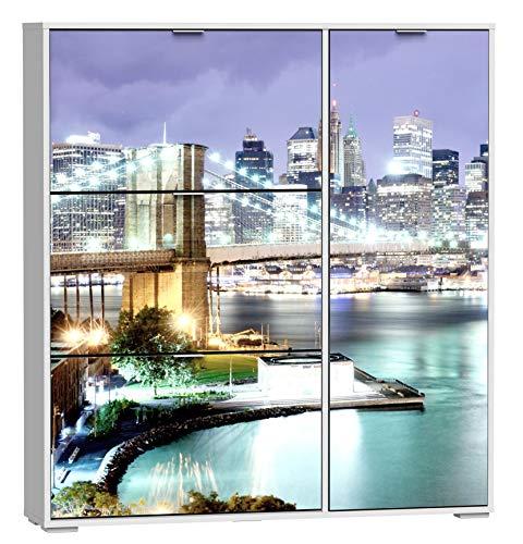 SZ Suarez Armario Zapatero 4 Puertas serigrafia New York habitacion...